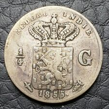 Silver 1855 Netherlands East Indies 1/4 Gulden