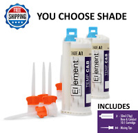 2 ELEMENT Temporary Crown and Bridge Material Cartridges &30 tips A1,A2,A3 or B1