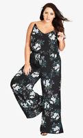 City Chic Brand Black Kaori Floral Wide Leg Jumpsuit PLUS Size XS BNWT #TR52