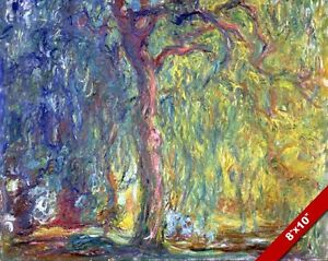 CLAUDE MONET WEEPING WILLOW TREE IMPRESSIONISM PAINTING ART REAL CANVAS PRINT