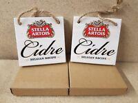 2 x Stella Artois Cidre Wooden font plaques/signs
