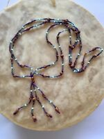 """New Handcrafted Navajo Ghost Bead Necklace 28"""" #18"""