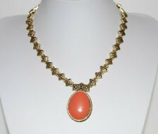 WONDERFUL GOLD TONED METAL ANTIQUE STYLE PIECES WITH FAUX CORAL PENDANT NECKLACE