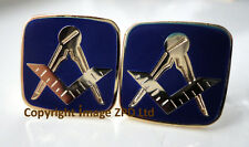 ZP367 Masonic Cufflinks Square Compass Freemason Blue Enamel Superb FREE UK POST