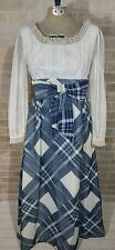 Vintage Size 10 Prairie Victorian style maxi dress Long Sleeve Blue White Plaid