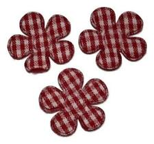 "5 pcs Red gingham flower 7/8"" padded appliqué DIY headband & bows"
