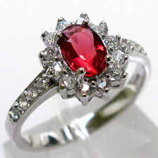 DELIGHTFUL 1 CT RUBY 925 STERLING SILVER RING SIZE 5-10