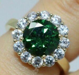 3Ct Round Cut Green Emerald Diamond Halo Anniversary Ring 14K Yellow Gold Finish