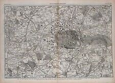 Carte antique, toll-gates et bars principal dans six milles de Charing Cross