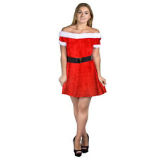 LADIES SEXY CHRISTMAS DRESS COSTUMES XMAS SANTA LITTLE HELPER ELF FANCY DRESS