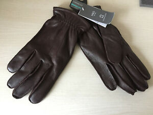Mens M&S Size Medium Brown Genuine Leather Lined Gloves RRP £35