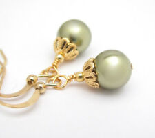 GREEN PEARL EARRINGS GOLD PLATED DAINTY DANGLES using SWAROVSKI CRYSTAL
