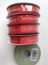 5 x Rotoli Rosso Buon Natale Rosso & Oro Raso Traguardo Nastro 270cm per Rotolo