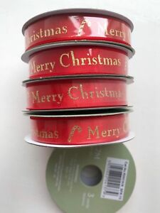 5 x rolls Red Merry Christmas red & Gold Satin Finishing Ribbon 270cm per roll