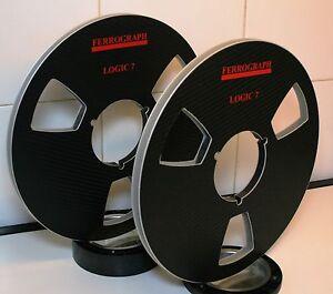 "2 X FERROGRAPH LOGIC 7 BLACK VINAL LOOK  METAL HUB REEL TO REEL 10.5"" X 1/4"""