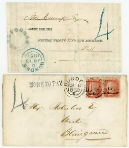 """SCOTLAND Rare 1851/58 covers with Dundee """"4"""" Postage Due handstamp. Only 4 known"""