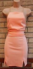 ASOS PEACH PINK STRAPPY SEXY BODYCON BANDAGE PARTY WEDDING TUBE DRESS 6 XS