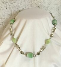 BEAUTIFUL VINTAGE NECKLACE MINT GREEN SHAPED GLASS AND CRYSTAL BEADS GREAT GIFT