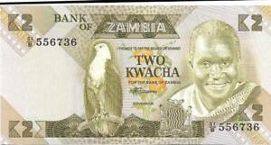ZAMBIA 2 Kwacha 🌎🦅 P- 24c, UNC; 1980 - 88 🌎🦅 African Fish Eagle 🦅 K. Kaunda