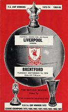 LIVERPOOL v BRENTFORD, LEAGUE CUP, 2nd ROUND, 10th SEPTEMBER 1974.