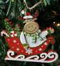 Addobbo natalizio per albero natale in legno Alce su slitta decorazione