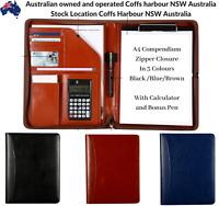 Work School Business Leather A4 Zipper Writing Compendium Pen Calculator Cards