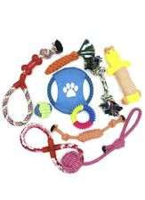 Pack of 10 Dog Puppy Toy Rope Soft Plush Sound Play Squeaker Ball Toys