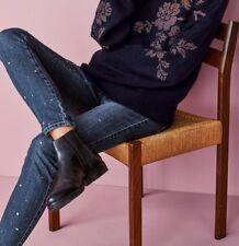 NEXT Blue Diamanté Embellished SKINNY Stretchy Jeans Size 10 R Studded Gem