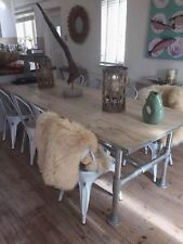 Industrial Style Scaffold Board Dining Table, Pipe Metal Frame