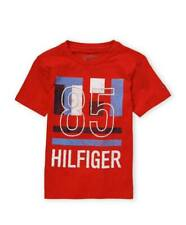BNEW TOMMY HILFIGER 85 stripe logo Boys Tee shirt, Large