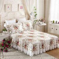 Floral Print Ruffle Bedspread Mattress Cover Bed Skirt Princess Bedding Set New