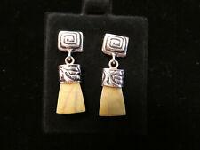 Peruvian Silver Earrings, Dientes de Pachacutec