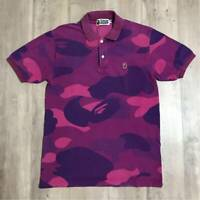 a bathing ape bape giant camo polo shirt purple camo medium size M Clothing rare