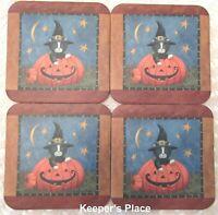 Halloween Pumpkin Black Cat Coasters Witch Hat Cork Back Set Of 4