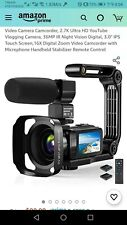 Video Camera Camcorder, 2.7k Ultra HD YouTube Vlogging Camera