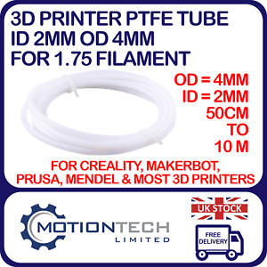 PTFE Tube ID 2mm OD 4mm - 1.75 Filament for 3D Printer Lot 0.5m to 5 Metres