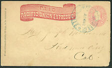 Postal History - Pacific Union Express Co - Oroville Ca to Redwood City