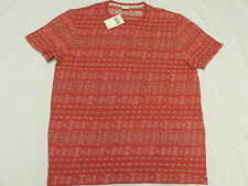 $49 NWT Mens Lucky Brand T-Shirt Jacquard Neppy Knit Stripe Tee Red Size XL M635
