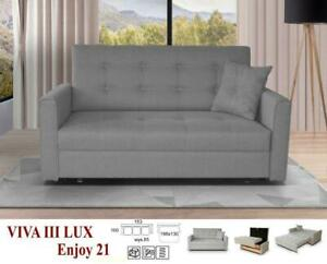 NEW LARGE SOFA BED VIVA FABRIC STORAGE BED DOUBLE SINGLE GREY BEIGE BROWN