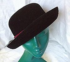 VINTAGE *KANGOL LADIES BOWLER SOFT STRUCTURE BLACK HAT BURGUNDY CORDED BAND CHIC