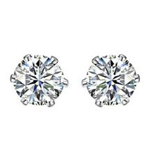 6mm 14K White Gold Rhodium Plated Basket Round Cut Solitaire Earrings Studs