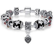 Bamoer Gift Box European Pink Flower Heart  Silver Crystal Beads Bracelet Chain