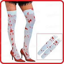 BLOOD SPLATTERED STAINED STOCKINGS TIGHTS SOCKS-BLOODY ZOMBIE-COSTUME-HALLOWEEN