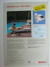 Prospetto BOSCH Telefono Cordless raggio 2000, circa 1992, 2 pagine