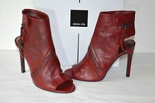 Dolce Vita Hal Red Leather Open Toe Bootie Heel Black Leather Zip Sz 6