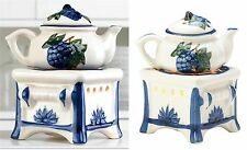 Charming Porcelain ** TEAPOT STOVE  OIL WARMER & CANDLE HOLDER ** NIB