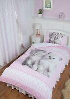 SINGLE BED DUVET COVER SET CUTE KITTENS MISTY & MAC PINK CHECK POLKA DOT WHITE
