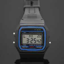 Watch bracelet, Digital F-91W Black, strap rubber,#888, multifunction, Watches