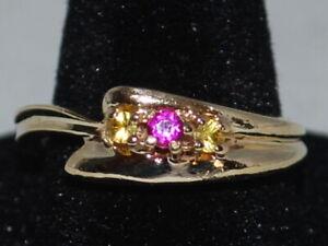 10k Gold ring with Citrine(Nov birthstone) and Pink tourmaline(Oct birthstone)