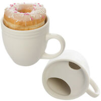 2pk Donut Warming White Ceramic Coffee Mug Set 20oz Cup Drip Trap Mustache Guard